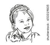 hand drawn pretty talking girl...   Shutterstock .eps vector #653319835
