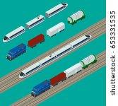illustration. set train icons.... | Shutterstock . vector #653331535