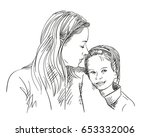 portrait of mother looking at... | Shutterstock .eps vector #653332006