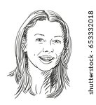 sketch of beautiful smiling... | Shutterstock .eps vector #653332018