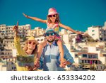 happy family traveling. people... | Shutterstock . vector #653334202
