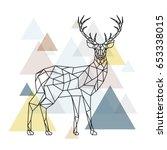 abstract polygonal deer.... | Shutterstock .eps vector #653338015
