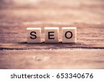 seo word collected of wooden... | Shutterstock . vector #653340676