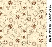 seamless pattern of cookies ... | Shutterstock .eps vector #653340682
