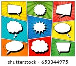 Colorful comic book background with blank white speech bubbles of different shapes in pop-art style. Rays, radial, halftone, dotted effects. Vector illustration