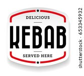 kebab vintage sign sticker | Shutterstock .eps vector #653345932