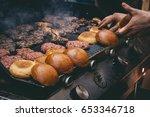 cooking delicious juicy meat...   Shutterstock . vector #653346718