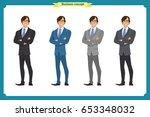 happy elegant businessman in... | Shutterstock .eps vector #653348032