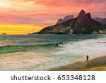 sunset view of ipanema beach... | Shutterstock . vector #653348128