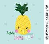 cute pineapple illustration... | Shutterstock .eps vector #653349205