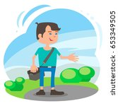 the video blogger in the park... | Shutterstock .eps vector #653349505