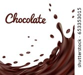 chocolate splashes background.... | Shutterstock .eps vector #653353015
