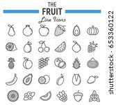 fruit line icon set  food... | Shutterstock .eps vector #653360122