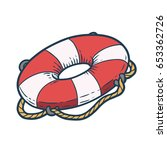 lifebuoy hand drawn sketch... | Shutterstock .eps vector #653362726