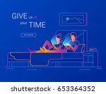 young couple spending time in... | Shutterstock .eps vector #653364352