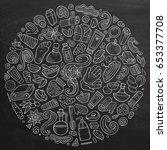 line art vector hand drawn set... | Shutterstock .eps vector #653377708