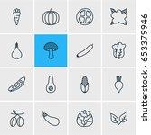 vector illustration of 16 food... | Shutterstock .eps vector #653379946