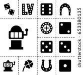 Stock vector lucky icon set of filled luckyicons such as roulette slot machine horseshoe dice vegas 653380135