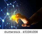 female finger touching a beam...   Shutterstock . vector #653381008