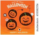 vintage halloween poster design ... | Shutterstock .eps vector #653382556