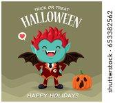 vintage halloween poster design ... | Shutterstock .eps vector #653382562