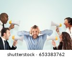 stress concept with screaming... | Shutterstock . vector #653383762