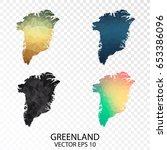 set of transparent polygonal... | Shutterstock .eps vector #653386096