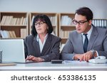 businesspeople having business... | Shutterstock . vector #653386135