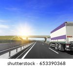 truck on the highway in the sun. | Shutterstock . vector #653390368