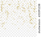 golden confetti and streamer... | Shutterstock .eps vector #653391238