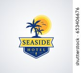 seaside hotel logo with palm... | Shutterstock .eps vector #653406676