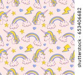dreamy pattern with unicorns... | Shutterstock .eps vector #653406682