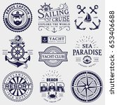 set of sea and nautical... | Shutterstock .eps vector #653406688