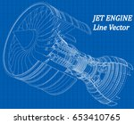 Jet Engine Isometrics On Blue...