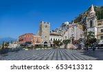 panoramic view of taormina main ... | Shutterstock . vector #653413312