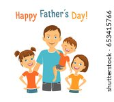 happy fathers day. dad with kids | Shutterstock .eps vector #653415766