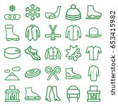 winter icons set. set of 25... | Shutterstock .eps vector #653415982