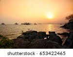 the setting sun in taihu lake | Shutterstock . vector #653422465