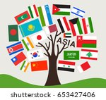set of world flag in tree... | Shutterstock .eps vector #653427406