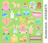 cute baby icons stickers on... | Shutterstock .eps vector #653428375