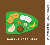 south indian banana leaf meal... | Shutterstock .eps vector #653440696