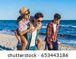 young funny couple in... | Shutterstock . vector #653443186