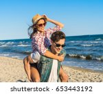 young funny couple in... | Shutterstock . vector #653443192