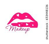 make up beauty logo emblem with ... | Shutterstock .eps vector #653448136
