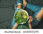 green vegan breakfast meal in... | Shutterstock . vector #653455195