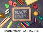back to school background with... | Shutterstock . vector #653457616