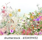 abstract colorful flowers... | Shutterstock . vector #653459452