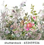 abstract colorful flowers... | Shutterstock . vector #653459536