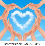 holiday background with hands... | Shutterstock .eps vector #653461342