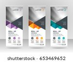 roll up banner stand template... | Shutterstock .eps vector #653469652